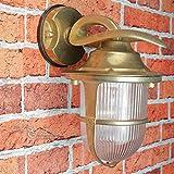 Außenleuchte Rustikal echtes Messing glänzend rostfrei Käfig Schirm maritimer Stil Premiumqualität Wandlampe Haus