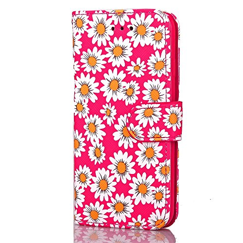 iPhone Case Cover IPhone 7 Plus Housse Couvrir Fleurs Impression Motif Magnétique Boucle Side Design Folio Stand Case Avec Portefeuille Fonction PU Leether TPU Soft Cover Pour Apple IPhone 7 5,5 pouce Rose Red