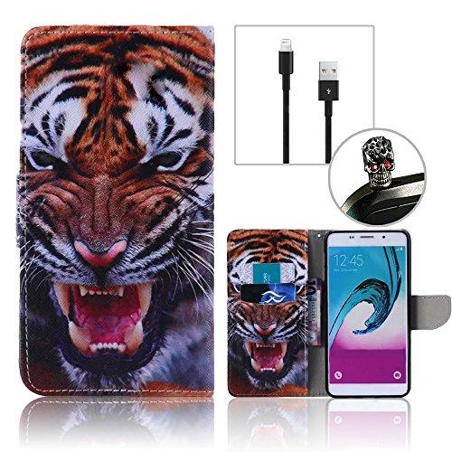Coque IPhone 5 5S SE,Etui IPhone 5 5S SE,Vandot Housse pour IPhone 5 5S SE PU Cuir Portefeuille Case Cas Skin Swag Smartphone Accessories Super Protection Protecteur D'écran Bumper Couvrir Couverture  Tiger