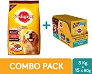 Pedigree Adult Dog Combo Pack of Dry Food (Meat & Rice, 3kg) & Wet Gravy (Chicken & Liver Chunks, 80g, 15 pouches)