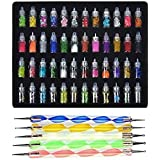 Store2508® Exciting Nail Art Tools(53 Pcs) – 48 Bottles 3D nail art Glitter Set and 5 Pcs Double Sided Nail Dotting Tool Pen Great gift for Girl, Women, Females.