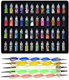 #3: Store2508® Exciting Nail Art Tools(53 Pcs) – 48 Bottles 3D nail art Glitter Set and 5 Pcs Double Sided Nail Dotting Tool Pen Great gift for Girl, Women, Females.