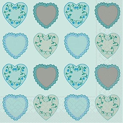 Sovie Home Serviette Sweet Love/Tissue-Servietten 33x33 cm/saugstarke und hochwertige Einweg-Servietten/ideal für Hochzeit & Feiern im Frühling & Sommer (Blau)