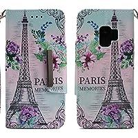 Handyhülle Samsung Galaxy S9,HUDDU Paris Blumen Muster Rosa Schutzhülle Samsung S9 Hülle Flip Leder Tasche Slim... preisvergleich bei billige-tabletten.eu
