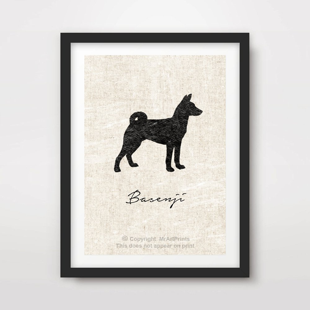 BASENJI DOG ART PRINT POSTER Breed Silhouette Home Decor Wall Picture A4 A3 A2 (10 Sizes)