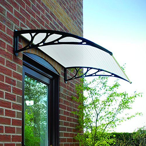 Greenhurst 1128 1.2 m Easy Fit Tinted Door Canopy Black Garden & Outdoors