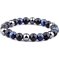 ARMONY PARIS Bracelet Pierre Naturelle Triple Protection Perle Pierre Naturelle Oeil de Tigre Hematite Obsidienne Noire…