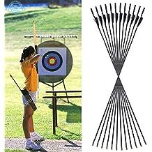 Funtress 29 '' de fibra de vidrio flechas Nocks fletched Caza Práctica de blanco de tiro con arco Flecha broadhead compatibles con el Compuesto y Arco recurvado