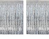 INIBUD Folie Vorhang Metallic Folie Fransen 2 Packung Vorhänge Tür