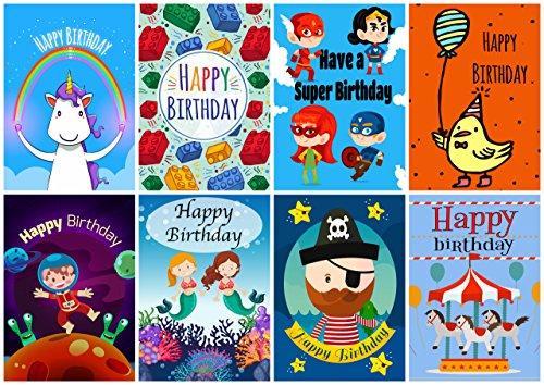 Descargar Pdf 16 Assorted Childrens Birthday Cards Envelopes By