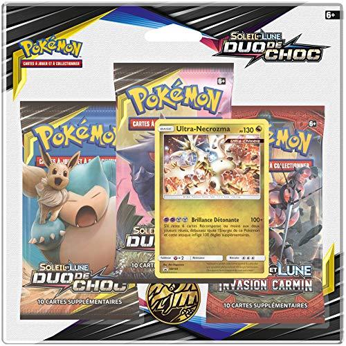Pokemon- Modèle aléatoire Soleil et Lune-Duo de Choc (SL09) -Pack 3 boosters, 3PACK01SL09, Cartes à Collectionner