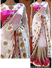 Adorn Fashion Women's Georgette Saree With Blouse Piece(ADNX-57_White, Pink)