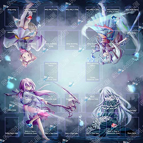 Playmat Big for 2 Players Ash Blossom, Ghost Ogre, Ghost Reaper, Yashiki Warashi - Ghost Girls - Ideal for Link monsters Yugioh
