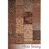 Alfombra moderna Vintage marrón 155x230 cm - alfombra de tejido plano patchwork