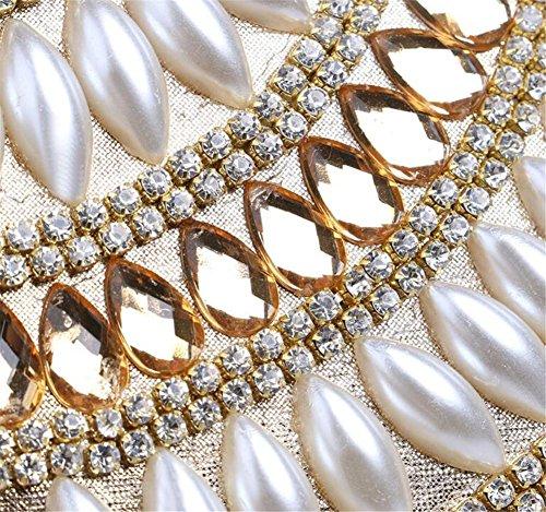 Donne Borse Beaded Clutch Dress Evening Party Wedding Chain Shoulder Borsetta In Oro Multicolore