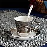 LUCKY CLOVER-A Bone China Tea Cup Coffee Cup Set con Plato Y Cuchara, Gold Silver con Caja De Regalo Espresso Cups Mugs Gift,Silver