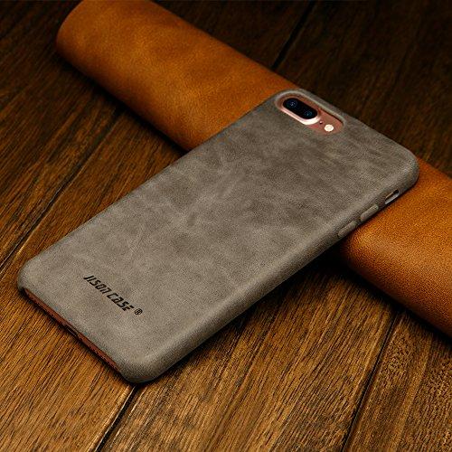 Jisoncase VINTAGE iPhone 7 Plus Hülle, Braun, Leder, JS-I7L-03A20 Grau