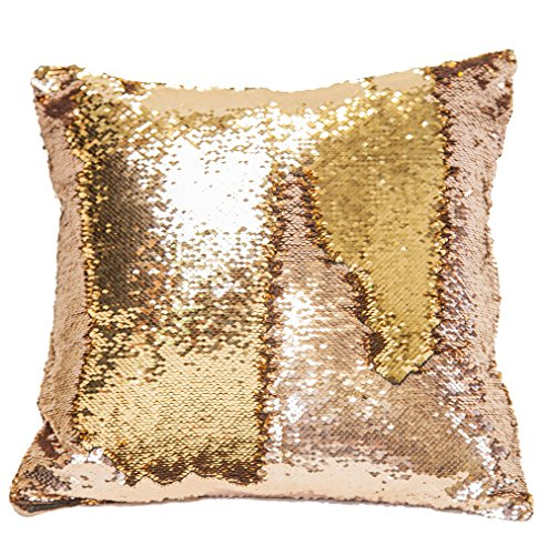 Pailletten kissen Zierkissenbezüge Sofa kissen Auto Deko Home DIKETE Dekokissen 40x40cm - Meerjungfrauen-Optik wendbar zweifarbig Champagne/golden