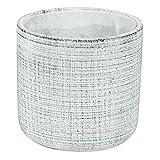 Coprivaso vaso per piante in ceramica serie Etno telo cilindro altezza 14 cm, colore: grigio bianco