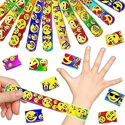 German Trendseller® - 24 x Pulseras de la palmada Emoji┃ Brazalete ┃Fiestas Infantiles┃ Idea de Regalo┃piñata┃cumpleaños de niños┃Bolsas Sorpresa┃ 24 Unidades
