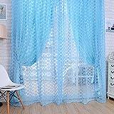 Rrimin Rose Tulle Window Screens Door Balcony Curtain 1*2 m (Blue)