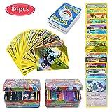 84Pcs Carte de Pokemon Jeux de Cartes, GX Cartes EX Energy Trainer Cartes, Pokemon Flash Cartes, Sun & Moon Series, TeamUp (Style aléatoire)