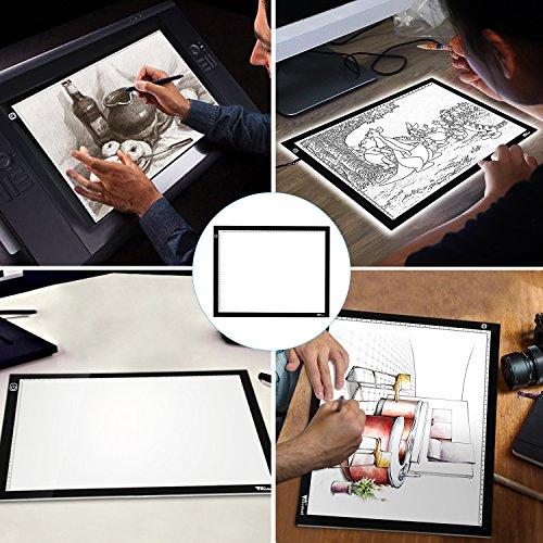 Amzdeal Tablette Lumineuse A3 avec 6 Niveaux Réglables de Luminosité LED 5mm Ultre-Mince avec Cable USB pour Croquis Esquisse Architecture Calligraphie
