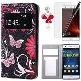 HB-Int 4*1 Case Cover Carcasa Huawei p8 lite Funda Libro Case con Tapa Flip Case Cover Cierre Magnético Función de Soporte Billetera( Protectores de Pantalla x 1 ,Tapón Anti-polv x 1 ,Touch pen color de negro x 1 ,PU Funda color de negro x 1 )
