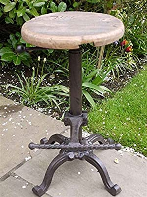 Industrial Vintage Bar Stool, Seat Metal And Wood Top Adjustable produced by Brilliant Wall Art - quick delivery from UK.
