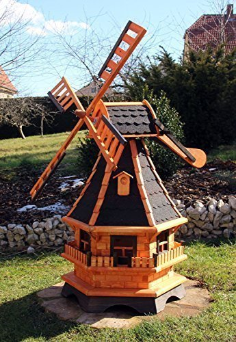 Windmühle Holz mit Solarbeleuchtung