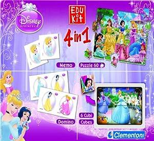 Clementoni 5117963 Edukit Princess 4 en 1 - Set de Juegos, diseño Princesas (Puzzle, memo, dominó, Cubos) Importado de Alemania