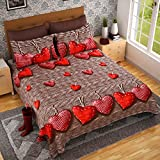 #5: Home Décor- Good Premium Quality Pure Glaze Cotton Queen Size Beedsheet For Double Bed With Red Herat Print Suitable For Room Home Décor With Two Pliiow Covers- DoubleBed Bedsheet