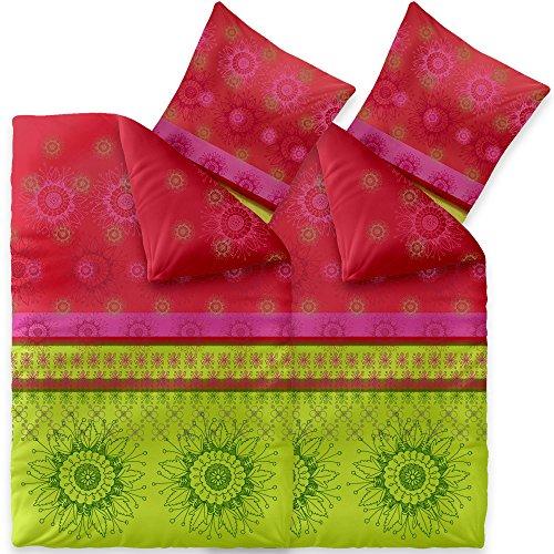 CelinaTex Bettwäsche 4tlg 135x200 Baumwolle Set Kopfkissen Bettbezug Reißverschluss atmungsaktiv Bett Garnitur 80x80 Kissen Bezug 0003720 Fashion Lindsay grün rot pink