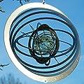 Edelstahl Windspiel - Strudel Glow 200 - Abmessung: 27,8 x 27,8 cm - inkl. Aufhängung und fluoreszierender Glaskugel von Colours in Motion auf Du und dein Garten