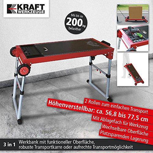 Werkbank Rollbank Werktisch Arbeitstisch 3in1 Werkstattwagen Alu MDF Last 200 kg