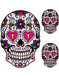 Day Of Dead Gothic Skeleton Bracelet + Red Hair Rose + Free Sugar Skull Tattoo