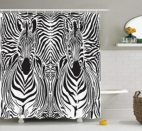 SHUHUI Zebra Print Decor Duschvorhang Set Illustration Muster Zebras Skins Hintergrund über Zebra Körper Köpfe Badezimmerzubehör Schwarz Weiß (Dusche Zebra-print Vorhang-set)