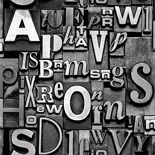 Yhyxll carta da parati industriale 3 del vento della parete del fondo del caffè della barra del salone della carta da parati di alfabeto inglese di retro modo 3d