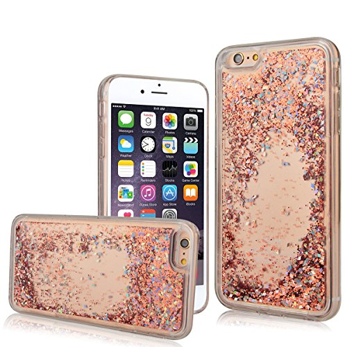 "WE LOVE CASE iPhone 6 Plus / 6s Plus 5,5"" Hülle Weich Silikon iPhone 6 Plus 6s Plus 5,5"" Schutzhülle Handyhülle Im Durchsichtig Transparent Crystal Clear Treibsand Glitzer Liquid Quicksand Funkeln Ste Orange"