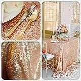 TRLYC Tischdecke mit Pailletten, 127x215,9cm, rechteckig, glänzend, elegant, glitzernd, Sonstige, rose gold, 50