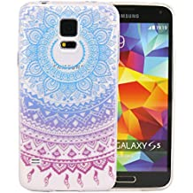 Galaxy S5 mini Cover, JIAXIUFEN TPU Gel Protettivo Skin Custodia Protettiva Shell Case Cover Per Samsung Galaxy S5 mini - Blue Purple Tribal