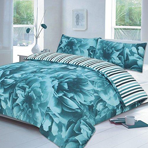 Maria Luxus Bettwäsche & Bettwäsche Hervorragende Hotel Qualität King Floral Rose Blaugrün Bettbezug Set Bettwäsche-Set mit Kissenbezügen, King Size (Rose Floral Bettwäsche-set)
