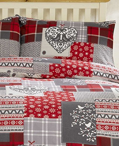 Bedding Heaven ALPINE PATCHWORK Flannelette Duvet Cover Set, Checked Brushed Cotton Quilt Cover Set. Red and Grey. Single, Double, King Size, Super King. (Double)