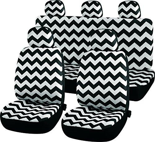 Einfach CSC001Koko Universal Chevron Auto Abdeckungen, 2x vorne 1x 2-teilige hinten Sitz, schwarz und weiß Wave Muster, einfache Installation, Hand oder Maschine waschbar