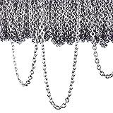 12 Metro Cadena de Cable de Acero Inoxidable Collar de Cadena para Accesorios de Bisutería de DIY, Color Plateado (2,4 mm)