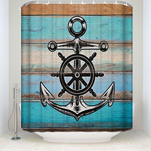 EZON-CH Anpassen Wasserdicht Anker auf Altes Holz rustikales Blau Polyester-Board Print-Home Hotel Wohnungs Badezimmer Dusche Vorhang 182,9x 198,1cm (Dusche Vorhang Kostüm)