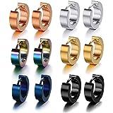6 paia di orecchini a cerchio unisex in acciaio inox, ipoallergenici(-)