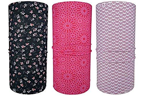 Hilltop 3 x Motorrad Multifunktionstuch, Kopftuch, Halstuch, Bandana 3-er Set in ausgewählten Designs, 3er Set/Farben:Pink Flowers