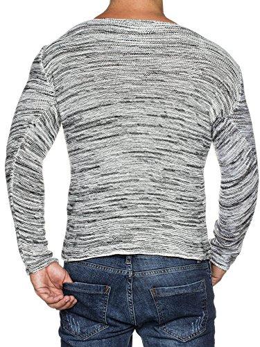 TAZZIO Styler Melange Muster Strick-Pullover mit weitem Rundhals-Ausschnitt 16498 Ecru