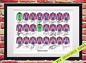 MountedGifts Poster encadré avec maillots de football du club Crystal Palace FC Saison 2013-2014 et signatures imprimées Format A4